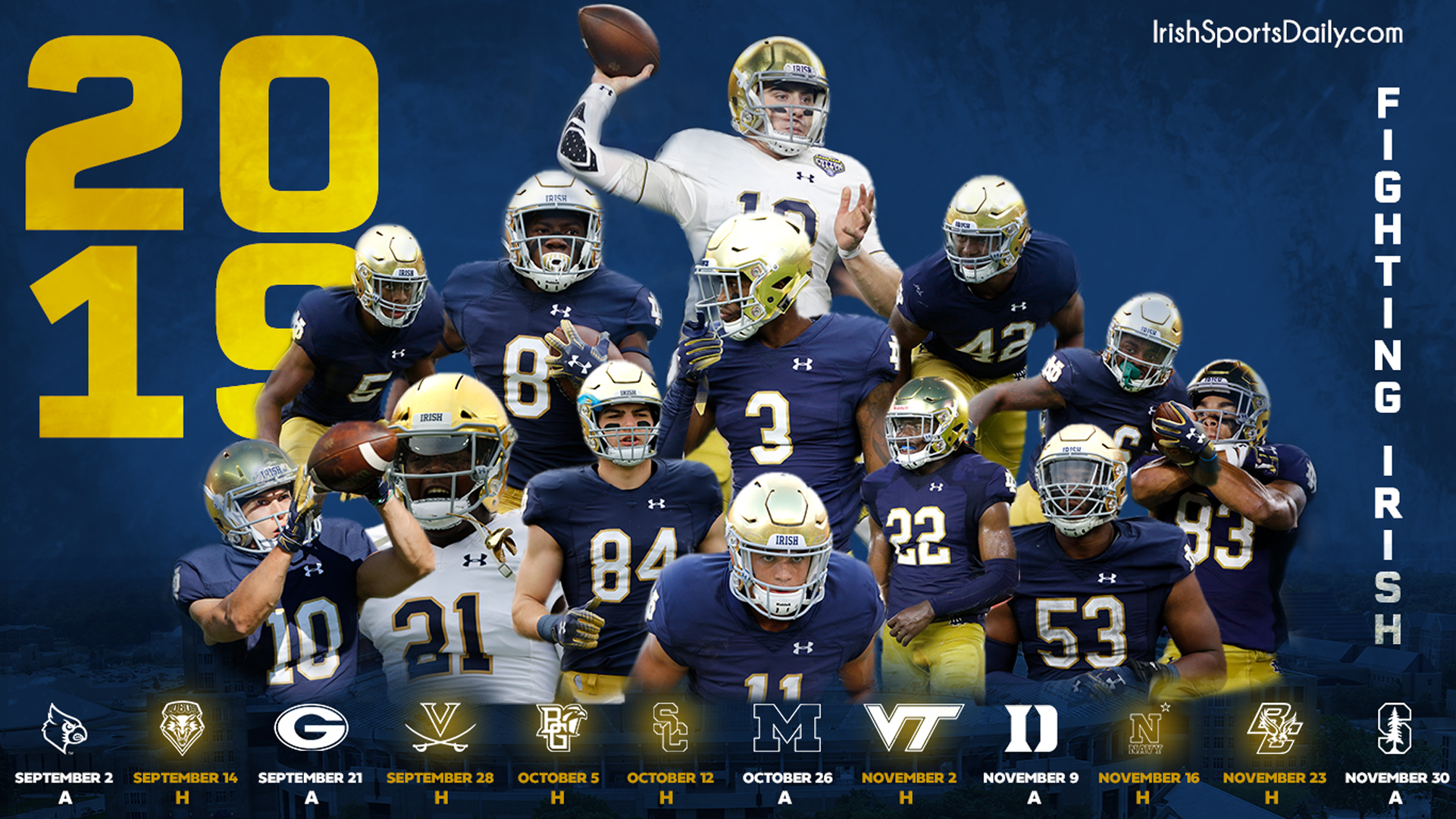 2019 Notre Dame Football Schedule Wallpaper | 2019 Notre Dame Football Schedule | Irish Sports Daily